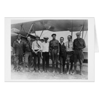Charles Lindbergh with 7 men, including Card
