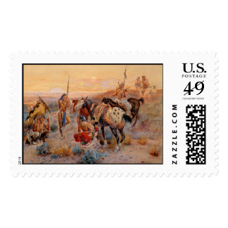Charles M Russell s First Wagon Tracks 1908 Stamp