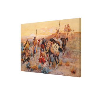 Charles M. Russell's First Wagon Tracks (1908) Canvas Print