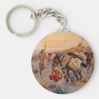 Charles M. Russell's First Wagon Tracks (1908) Keychain