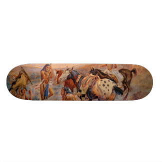 Charles M. Russell's First Wagon Tracks (1908) Skateboard Deck