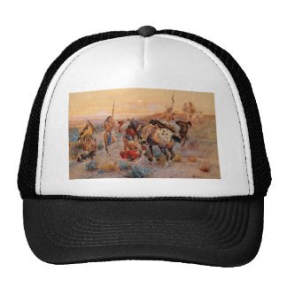 Charles M. Russell's First Wagon Tracks (1908) Trucker Hat