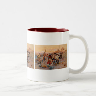 Charles M. Russell's First Wagon Tracks (1908) Two-Tone Coffee Mug