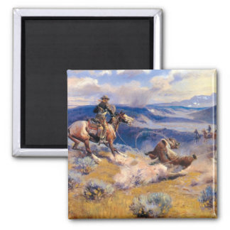 Charles M. Russell's Loops and Swift Horses (1916) 2 Inch Square Magnet