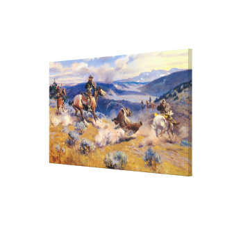 Charles M. Russell's Loops and Swift Horses (1916) Canvas Print