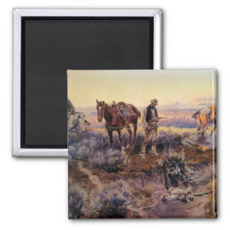 Charles M. Russell's Paying the Fiddler (1919) 2 Inch Square Magnet