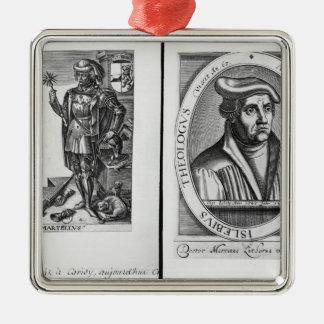 Charles Martel y Martin Luther Adorno Cuadrado Plateado