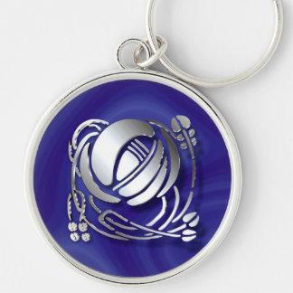 Charles Rennie Mackintosh Rose Silver-Colored Round Keychain