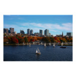 charles river boston ma clouds sunny day 2 poster