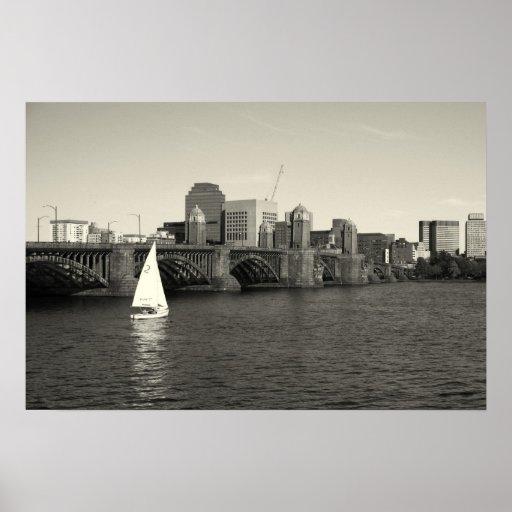 charles river boston ma sailboat poster
