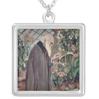 Charles Robert Darwin Square Pendant Necklace