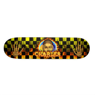 Charles skull real fire and flames skateboard desi