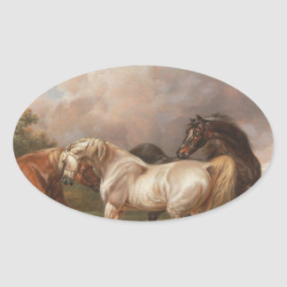 Charles Towne Art Painting Oil Horses Destiny Oval Sticker