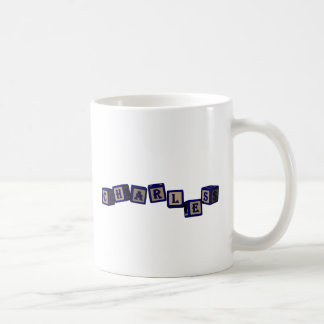 Charles toy blocks in blue coffee mug