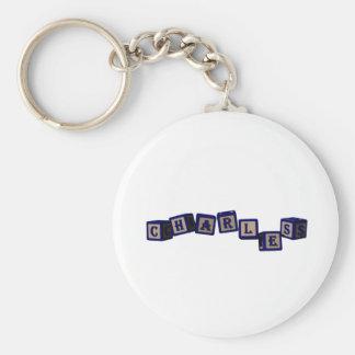 Charles toy blocks in blue basic round button keychain