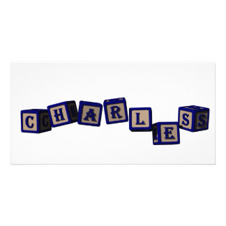 Charles toy blocks in blue photo greeting card