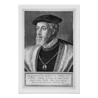 Charles V (1500-58) (engraving) Poster