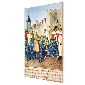 Charles V  receiving Emperor Charles IV Canvas Print