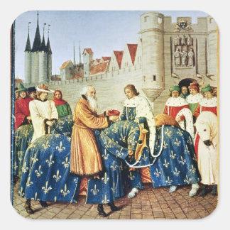 Charles V  receiving Emperor Charles IV Square Sticker