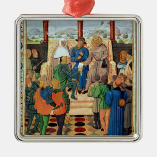 Charles VII  giving a document to Joan of Arc Square Metal Christmas Ornament