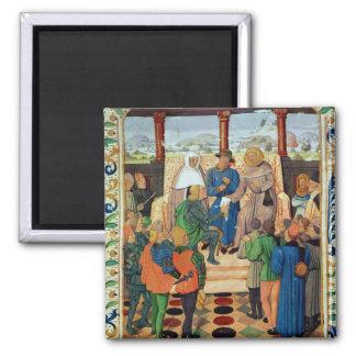 Charles VII que da un documento a Juana de Arco Imán Cuadrado