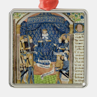 Charles VII  Surrounded by his Court Square Metal Christmas Ornament