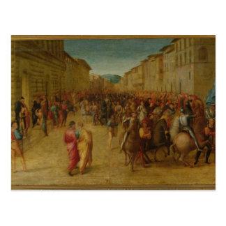 Charles VIII 1470-98 entering Florence c 1518 Postcard