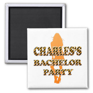 Charles's Bachelor Party 2 Inch Square Magnet