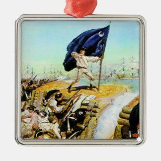 Charleston, Carolina del Sur junio de 1776 Adorno Cuadrado Plateado