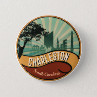 Charleston City Skyline Retro Vintage Button
