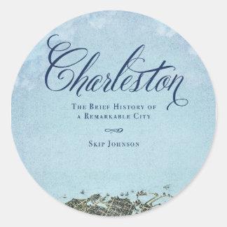 Charleston el libro - arte de la cubierta pegatina redonda