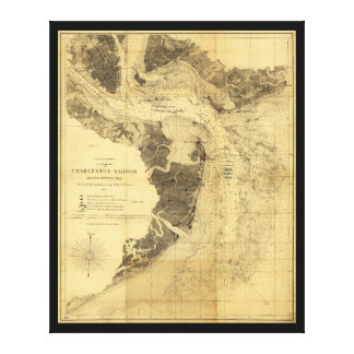Charleston Harbor Civil War Map Sept. 7, 1863 Canvas Print