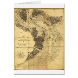 Charleston Harbor Civil War Map Sept. 7, 1863 Greeting Card