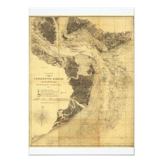 Charleston Harbor Civil War Map Sept. 7, 1863 5x7 Paper Invitation Card