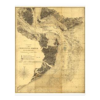 Charleston Harbor Civil War Map Sept. 7, 1863 Letterhead Design