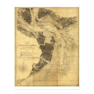 Charleston Harbor Civil War Map Sept. 7, 1863 Postcard
