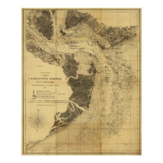 Charleston Harbor Civil War Map Sept. 7, 1863 Poster