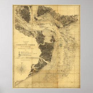 Charleston Harbor Civil War Map Sept. 7, 1863 Poster
