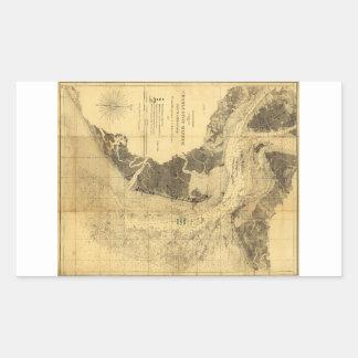 Charleston Harbor Civil War Map Sept. 7, 1863 Rectangular Sticker