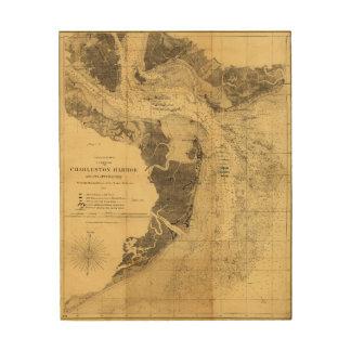 Charleston Harbor Civil War Map Sept. 7, 1863 Wood Wall Art