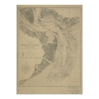 Charleston Harbor Map Poster