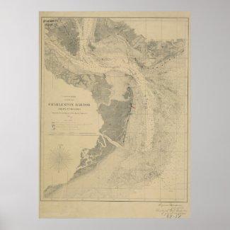 Charleston Harbor Map Posters