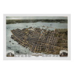 Charleston, mapa panorámico del SC - 1872 Impresiones