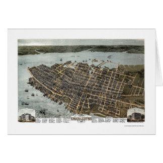 Charleston, mapa panorámico del SC - 1872 Tarjeta De Felicitación