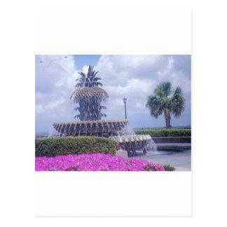 Charleston Pineapple Fountain Postcard