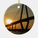 Charleston Ravenel Bridge Sunset Double-Sided Ceramic Round Christmas Ornament