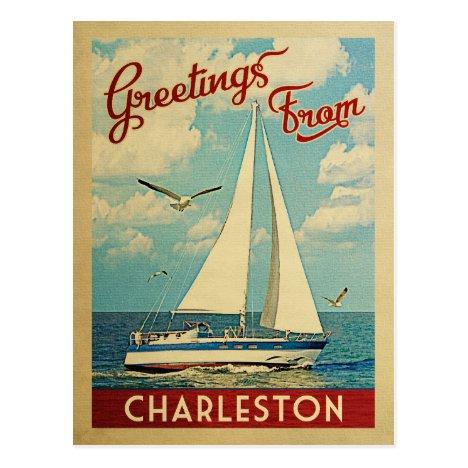 Charleston Sailboat Vintage Travel South Carolina Postcard