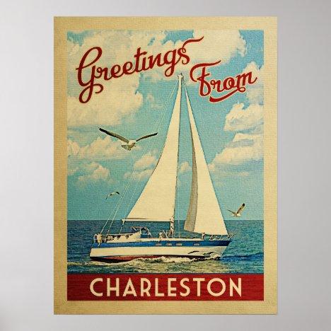 Charleston Sailboat Vintage Travel South Carolina Poster
