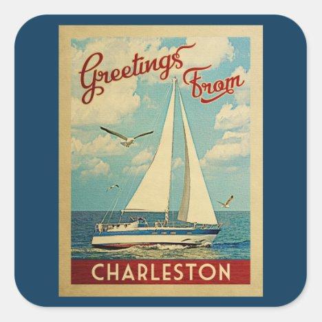 Charleston Sailboat Vintage Travel South Carolina Square Sticker