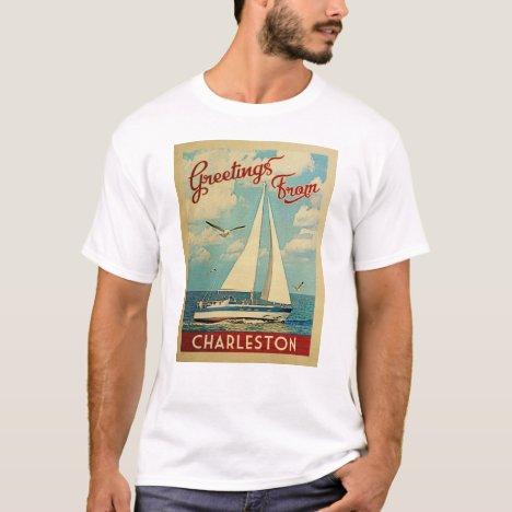 Charleston Sailboat Vintage Travel South Carolina T-Shirt